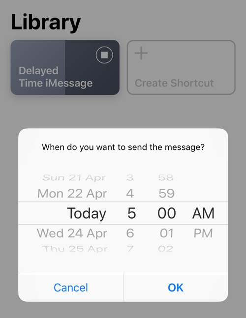Programmer un message texte Sélectionnez l'heure