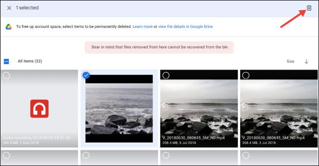 Sélectionnez et supprimez des fichiers volumineux sur Google Drive