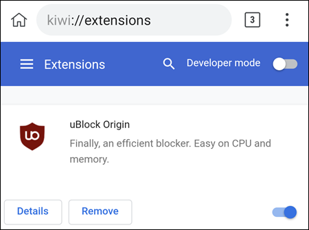 uBlock dans le navigateur Kiwi.