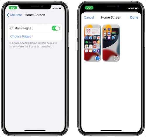 Sélection des pages d'écran d'accueil pour le mode Focus.