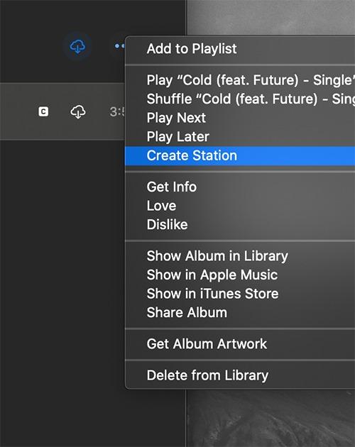 Station de radio Apple Music Créer une station Macos