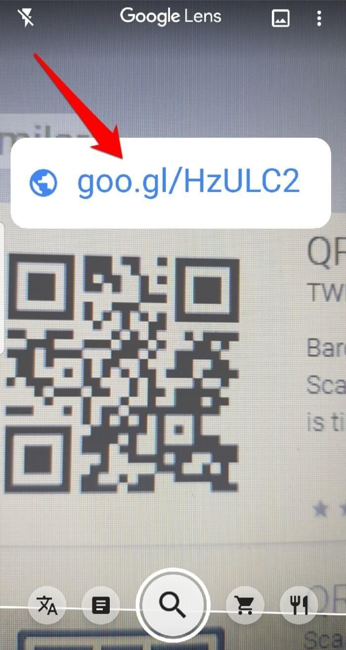 Lire le code Qr Android Google Lens scanné
