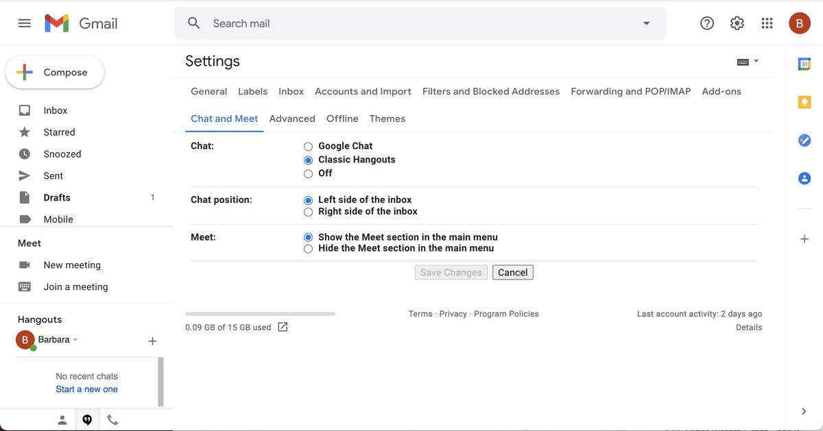 Sur votre navigateur, allez dans Paramètres et recherchez la section «Chat et rencontre».