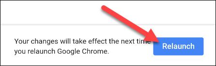 """Appuyez sur """"Relancer"""" pour redémarrer Chrome."""