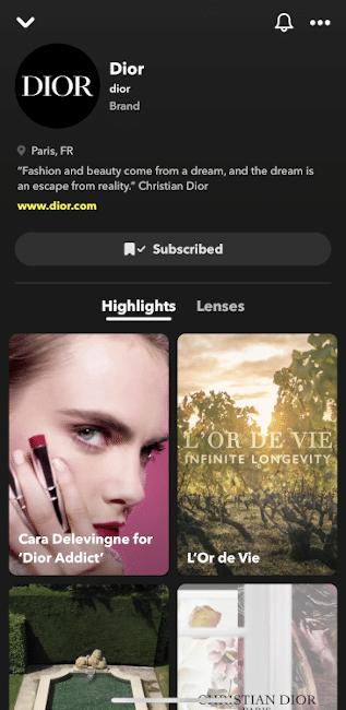 Fonctionnalité de profils de marque Snapchat