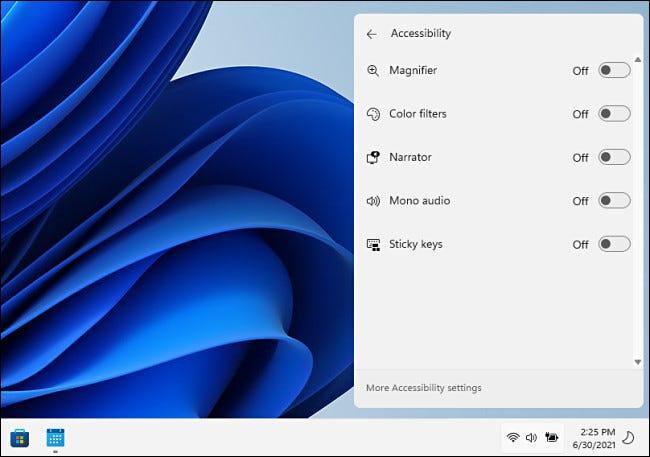 Options d'accessibilité dans le menu Paramètres rapides de Windows 11.