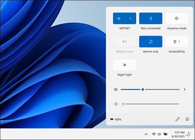 Le menu de configuration rapide de Windows 11