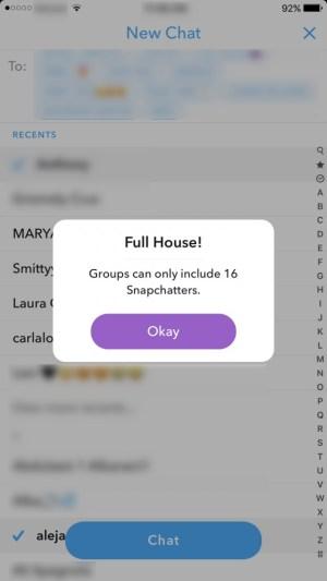 Limite de groupe Snapchat