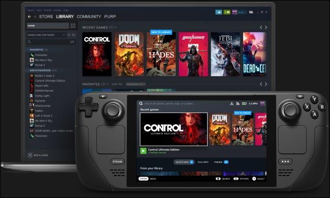 Une bibliothèque de jeux affichée dans Steam Deck et sur un ordinateur portable exécutant Steam.