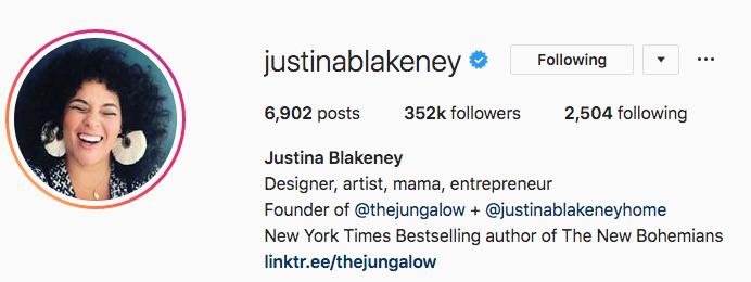 Biographie Instagram de Justina Blakeney
