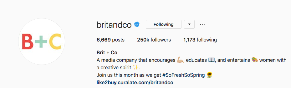 Biographie Instagram pour Brit and Co.