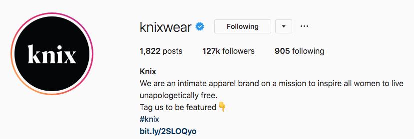 Bio Instagram pour Kinxwear