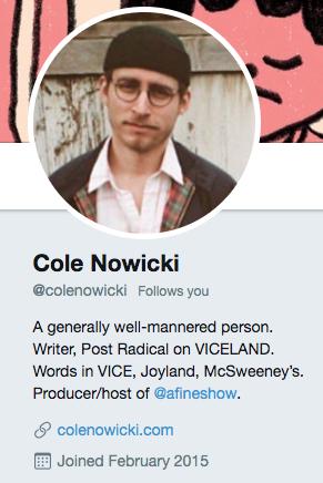 Biographie Twitter de Cole Nowicki