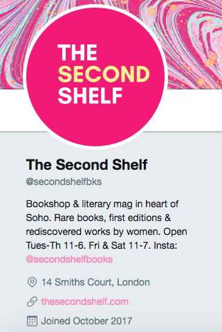 Biographie Twitter pour The Second Shelf