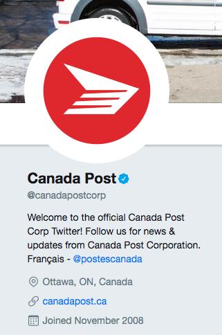 Biographie Twitter de Postes Canada