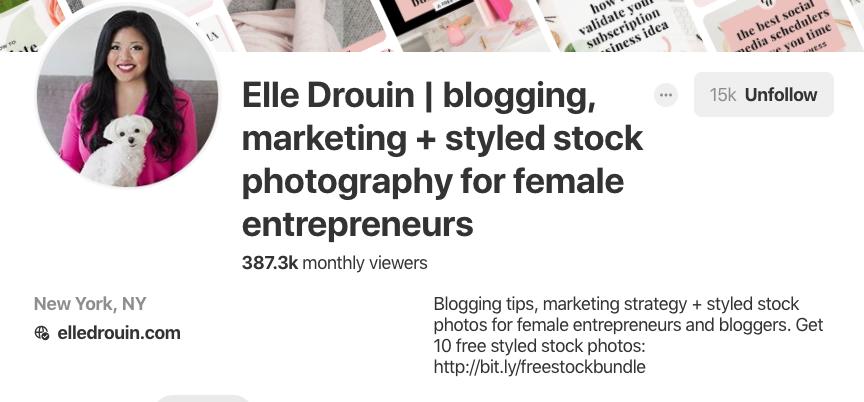 Biographie Pinterest pour Elle Drouin