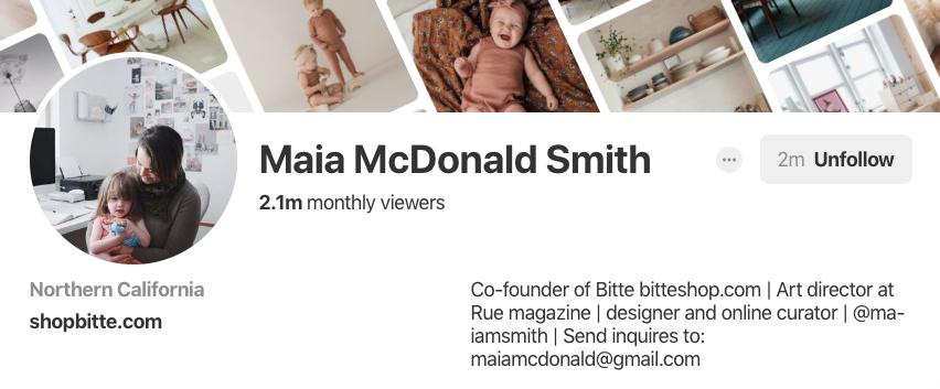 Biographie Pinterest pour Maia McDonald Smith