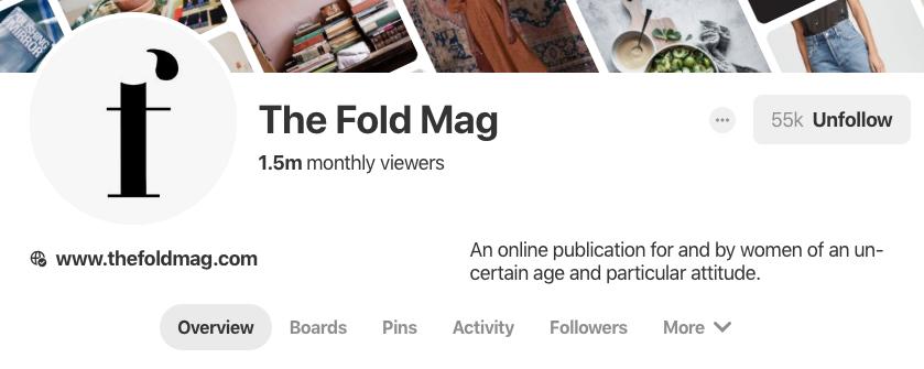 Biographie Pinterest pour The Fold Mag