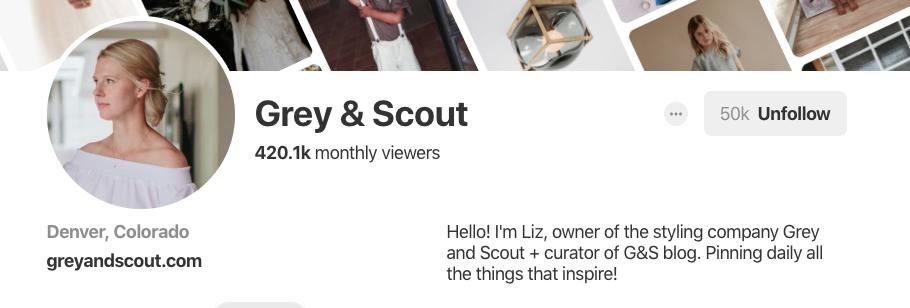 Biographie Pinterest pour Grey & Scout