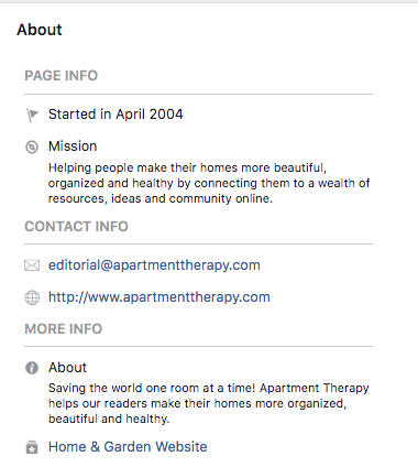 Bio Facebook pour Appartement Therapy