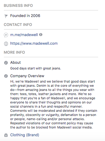 Biographie Facebook pour Madewell