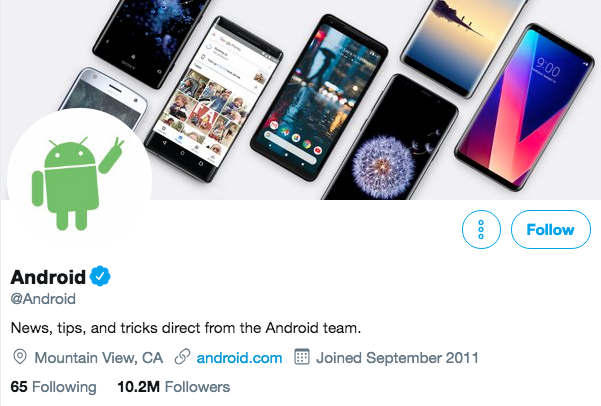 Biographie Twitter pour Android
