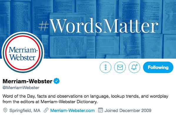 Biographie Twitter de Merriam-Webster