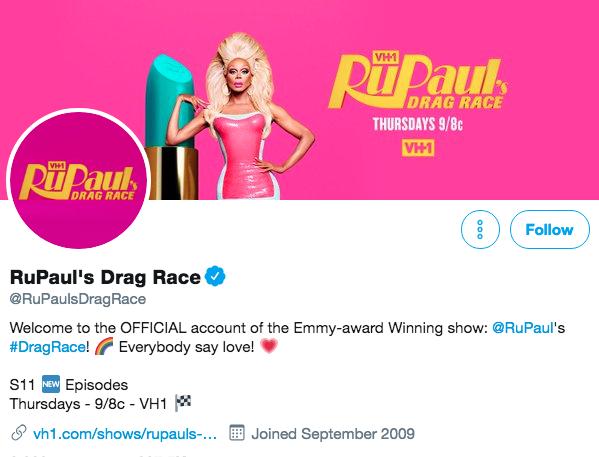 Biographie Twitter pour RuPaul's Drag Race
