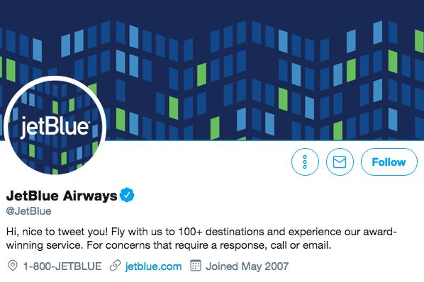 Biographie Twitter pour JetBlue