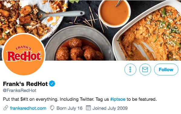 Biographie Twitter de Franks Red Hot