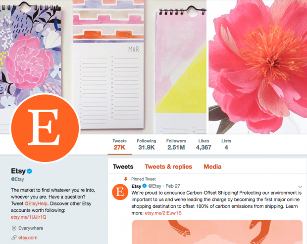 Biographie Twitter pour Etsy