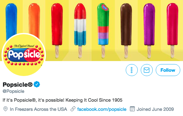 Biographie Twitter pour Popsicle