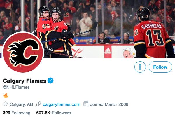 Biographie Twitter des Flames de Calgary