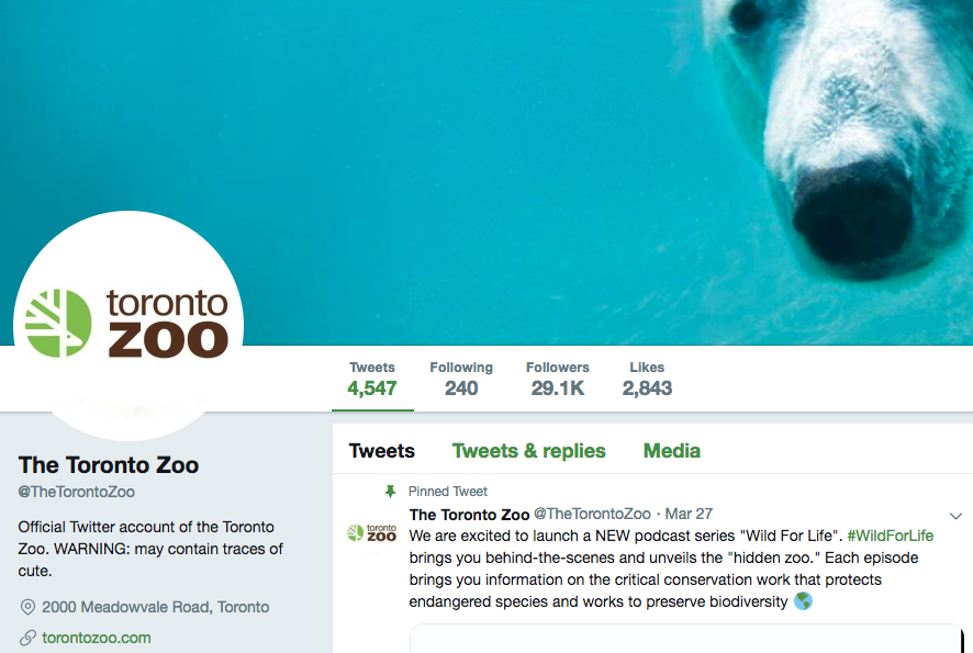 Biographie Twitter du zoo de Toronto