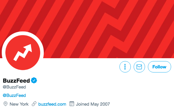 Biographie Twitter pour Buzzfeed