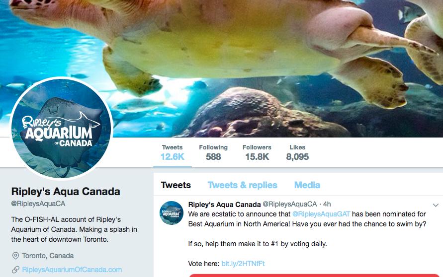 Biographie Twitter pour l'Aquarium de Toronto