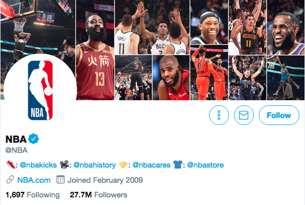 Biographie Twitter pour la NBA