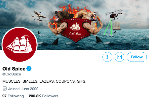 Biographie Twitter pour Old Spice