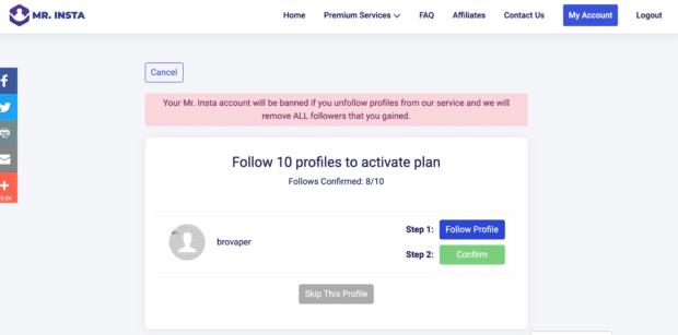 """M. Insta demande à suivre 10 profils pour activer votre plan """"acheter des followers instagram"""""""