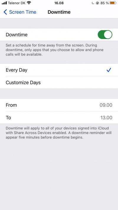 Capture d'écran montrant les paramètres personnalisés pour les temps d'arrêt sur iPhone