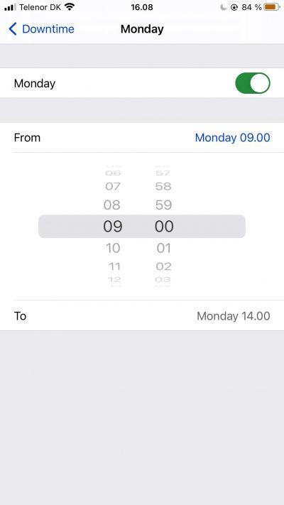 Capture d'écran montrant les paramètres de temps d'arrêt personnalisés sur iOS