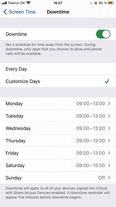 Capture d'écran montrant les paramètres de personnalisation pour les temps d'arrêt dans l'application Screen Time