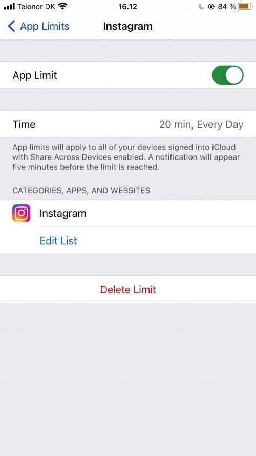 Capture d'écran montrant un exemple de définition d'une limite d'application iPhone