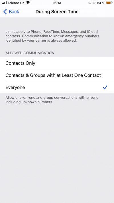 Capture d'écran montrant les options pour les contacts dans Screen Time