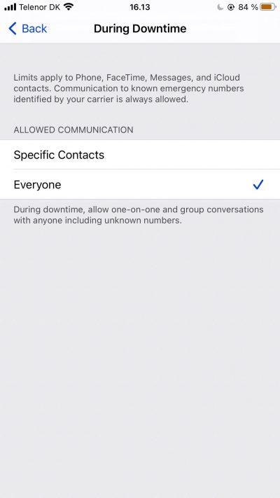 Capture d'écran montrant les options de contact pour les temps d'arrêt