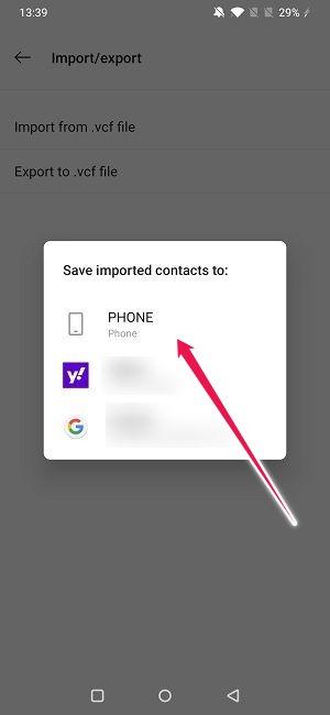 Importer Exporter des contacts sur Android Enregistrer les importations sur le téléphone