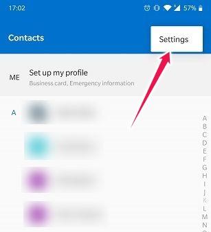 Importer Exporter des contacts sur les paramètres de contacts Android
