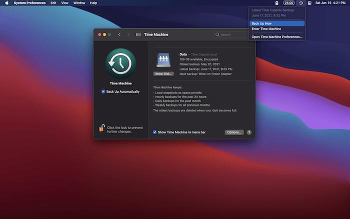 Sauvegarder un Mac via Time Machine.