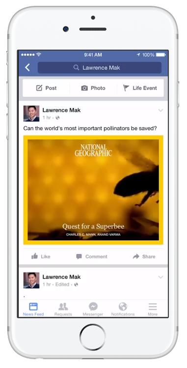 Capture d'écran d'une vidéo Facebook Instant Article