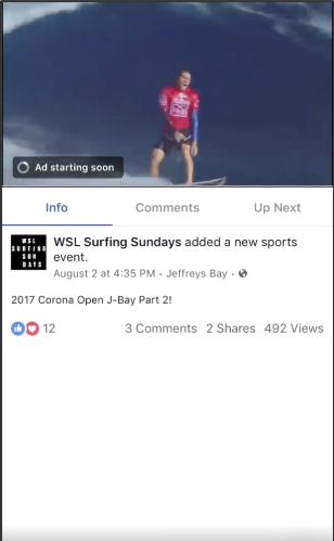 Exemple de vidéo en flux Facebook